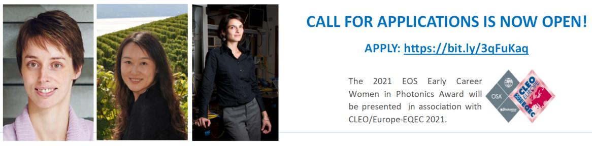 Apply for EOS Early Career Women in Photonics Award